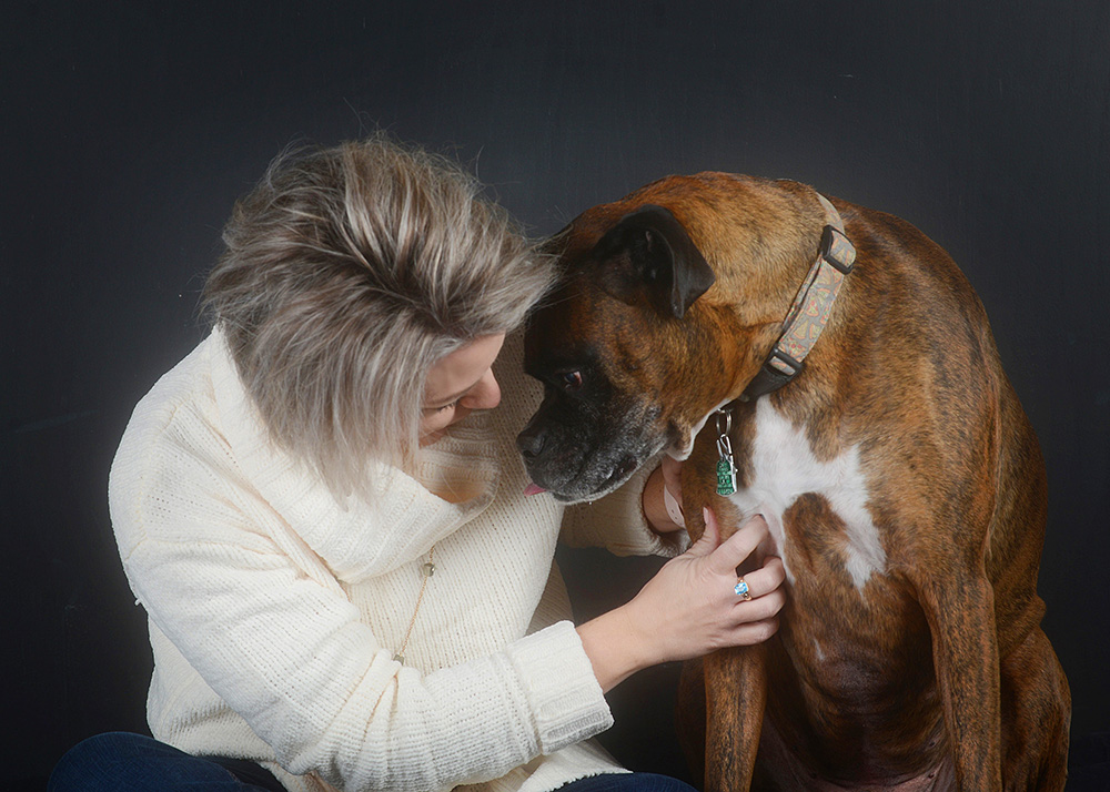 boxer studio portrait with human